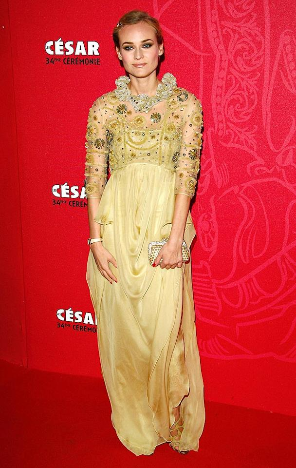 """Diane Kruger's Valentino-designed mustardy mistake completely clashed with the ketchupy red carpet at the Cesar Awards. Julien Hekimian/<a href=""""http://www.wireimage.com"""" target=""""new"""">WireImage.com</a> - February 27, 2009"""