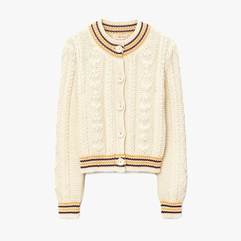 """$398, TORY BURCH. <a href=""""https://www.toryburch.com/cropped-cable-knit-cardigan/65238.html?color=253"""" rel=""""nofollow noopener"""" target=""""_blank"""" data-ylk=""""slk:Get it now!"""" class=""""link rapid-noclick-resp"""">Get it now!</a>"""