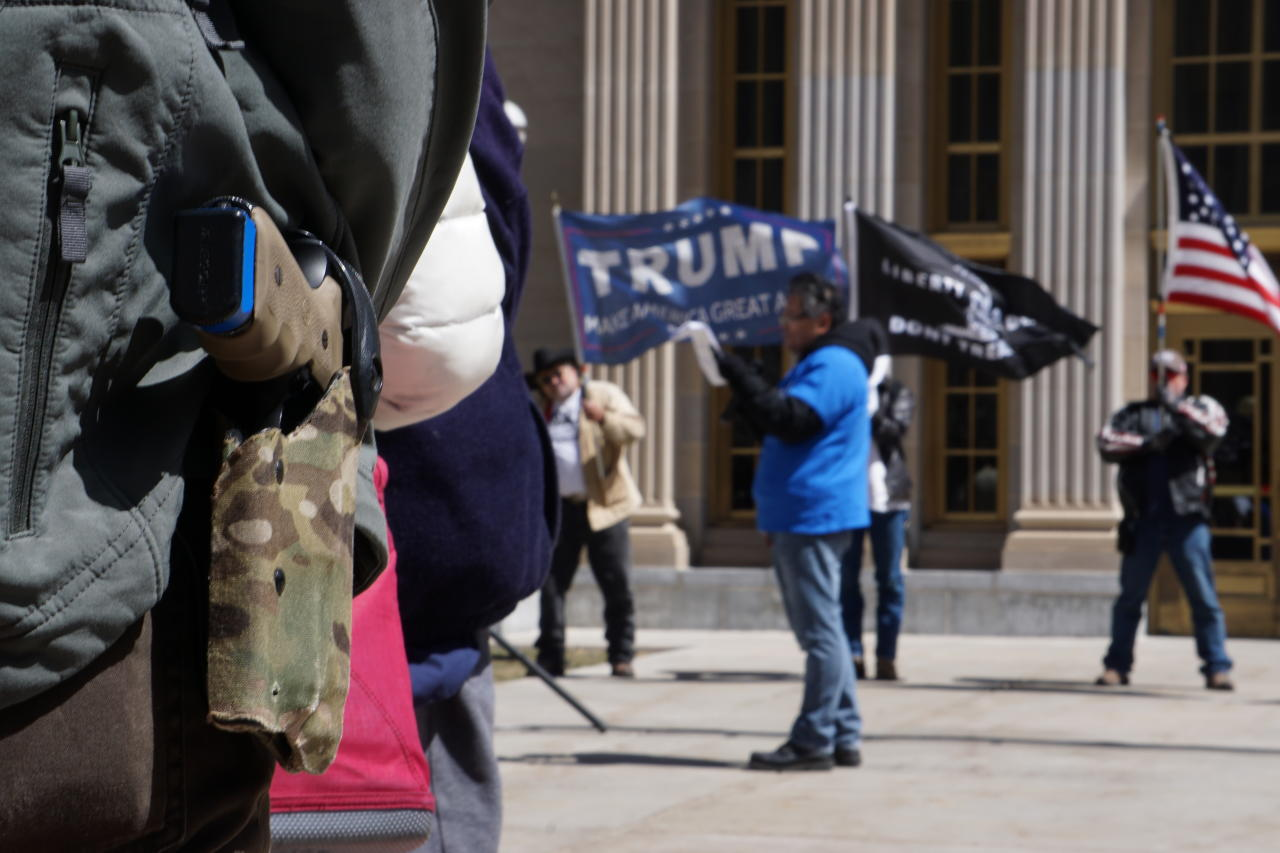 <p>Mead Daniel Marces addresses a gun-rights rally Saturday, April 14, 2018, in front of the Wyoming Supreme Court in Cheyenne, Wyo. About 100 people took part including a handful openly carrying firearms. (Photo: Mead Gruver/AP) </p>