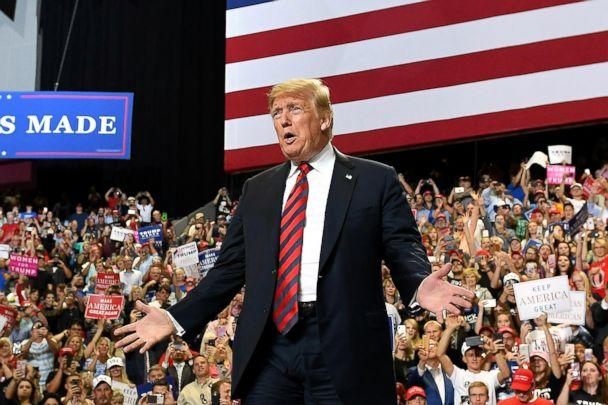 PHOTO: President Donald Trump looks on at the crowd during a rally at JQH Arena in Springfield, Mo., Sept. 21, 2018. (Mandel Ngan/AFP/Getty Images)