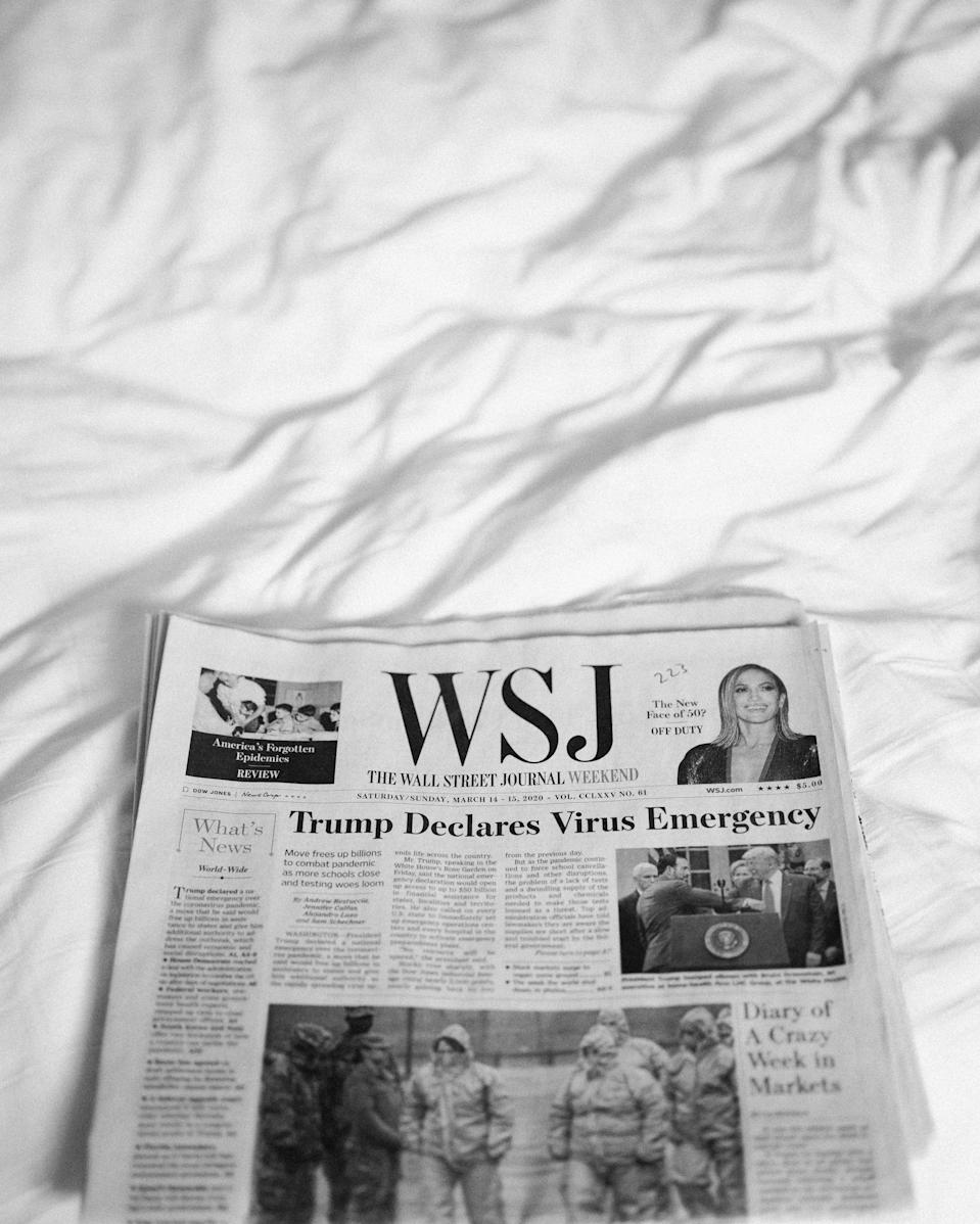 <em>The Wall Street Journal</em> headlines on our wedding day, March 14th, 2020.