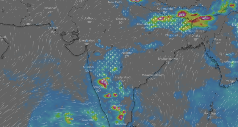 Storms have lashed India's southwest and northeast. Pictured is the forecast overnight. Source: Windy