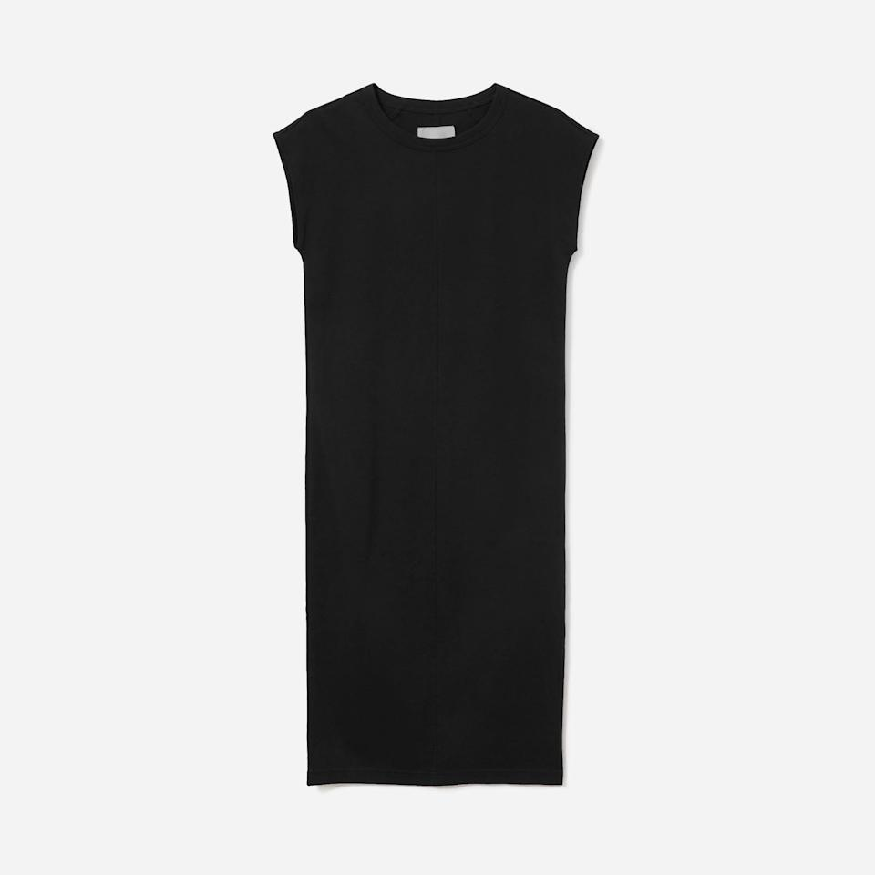 """<p><strong>Everlane</strong></p><p>everlane.com</p><p><a href=""""https://go.redirectingat.com?id=74968X1596630&url=https%3A%2F%2Fwww.everlane.com%2Fproducts%2Fwomens-luxe-ctn-side-slit-tee-dress-black&sref=https%3A%2F%2Fwww.harpersbazaar.com%2Ffashion%2Ftrends%2Fg37038622%2Feverlane-summer-sale-best-items%2F"""" rel=""""nofollow noopener"""" target=""""_blank"""" data-ylk=""""slk:Shop Now"""" class=""""link rapid-noclick-resp"""">Shop Now</a></p><p><strong><del>$50</del> $35 </strong></p><p>Between the ultra-soft cotton and the subtle slit, this Everlane staple is a step up from a typical t-shirt dress. </p>"""