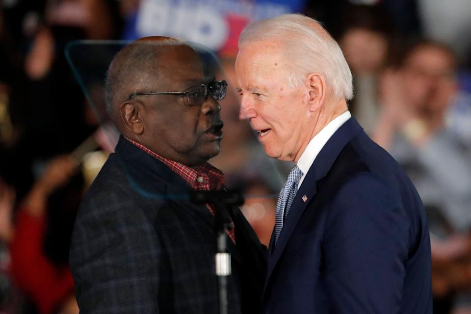Joe Biden talks to Rep. James Clyburn (D-S.C.) at a primary night election rally after winning the South Carolina primary, where Clyburn was considered an important political asset. Clyburn wants to see more Black nominees put forward by Biden's transition team. (Photo: Gerald Herbert/ASSOCIATED PRESS)