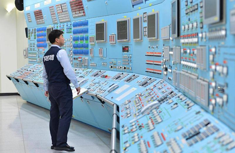 A worker takes part in an anti-cyber attack exercise at Wolsong power plant on December 22, 2014 in Gyeongju, South Korea. (Korea Hydro and Nuclear Power Co)