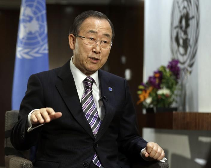United Nations Secretary General Ban Ki-moon responds to questions during a news interview Friday, Jan. 11, 2013 at the United Nations headquarters. (AP Photo/Frank Franklin II)