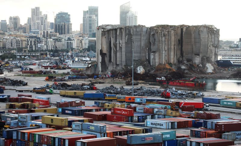 FILE PHOTO: A view shows the site of the August 4 explosion at Beirut port