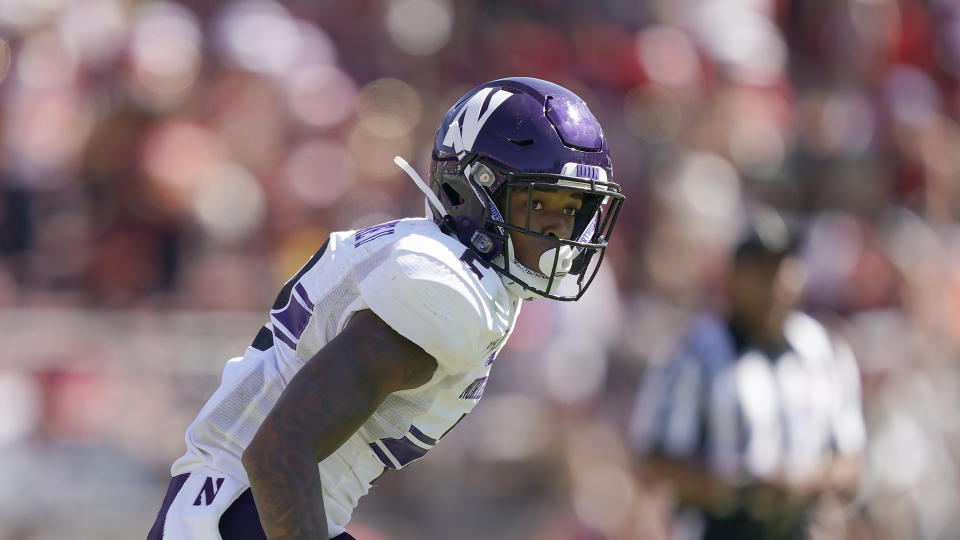 Northwestern defensive back Greg Newsome II (2) in action against Stanford during the second half of an NCAA college football game on Saturday, Aug. 31, 2019, in Stanford, Calif. (AP Photo/Tony Avelar)