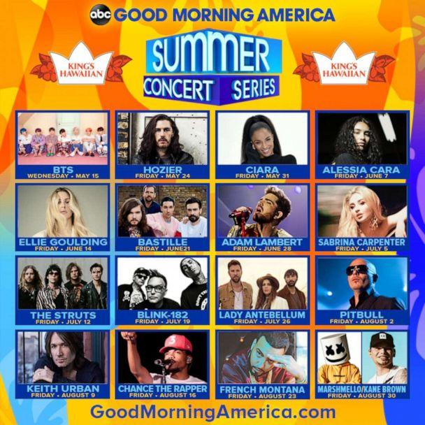 PHOTO: 'Good Morning America' announces our 2019 Summer Concert series lineup! (ABC News)