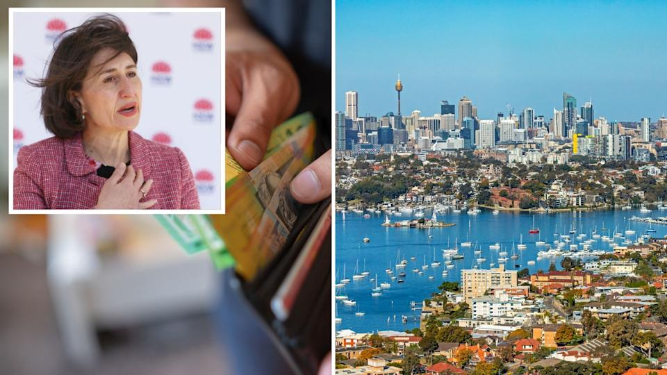 Gladys Berejiklian speaks at COVID-19 press conference, close up of hands holding wallet with Australian cash, Sydney city.