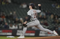 Detroit Tigers starting pitcher Casey Mize throws against the Seattle Mariners during the first inning of a baseball game, Monday, May 17, 2021, in Seattle. (AP Photo/Ted S. Warren)