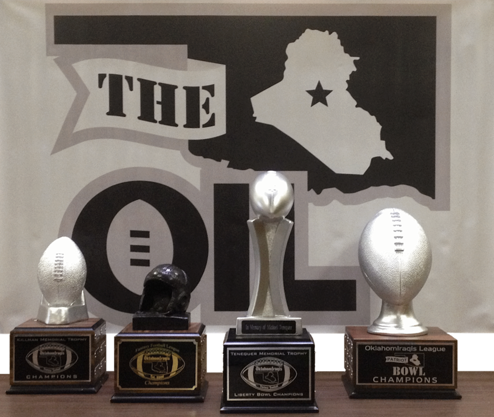 The OIL awards a traveling trophy to each conference champion and another to the overall league champion.