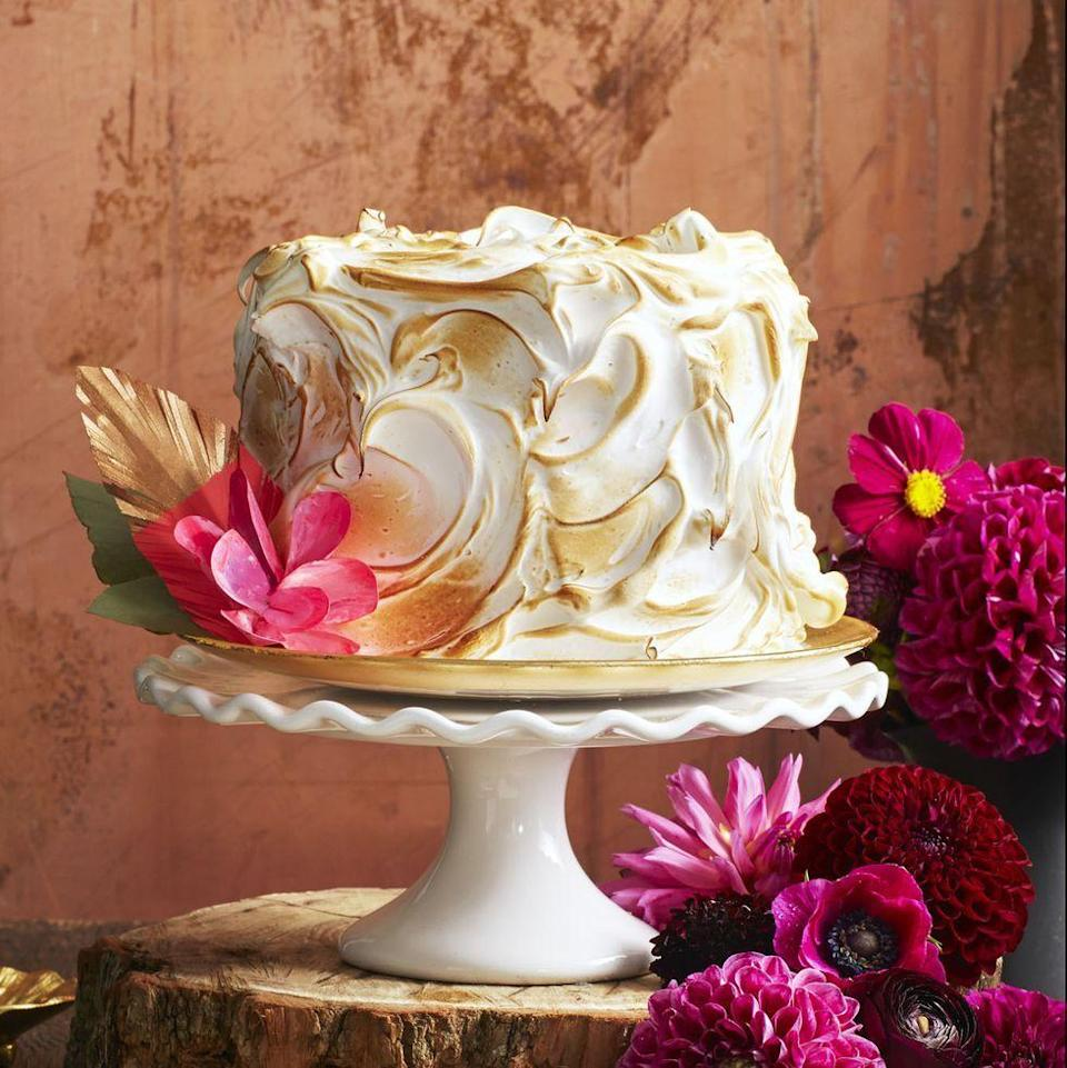 """<p>This cream cheese-filled, fluffy meringue-topped cake may not be spooky, but it's a stunning (and delicious!) way to celebrate Halloween season.</p><p><em><a href=""""https://www.goodhousekeeping.com/food-recipes/dessert/a35181/pumpkin-spice-cake/"""" rel=""""nofollow noopener"""" target=""""_blank"""" data-ylk=""""slk:Get the recipe for Pumpkin Spice Cake »"""" class=""""link rapid-noclick-resp"""">Get the recipe for Pumpkin Spice Cake »</a></em></p><p><strong>RELATED: </strong><a href=""""https://www.goodhousekeeping.com/food-recipes/dessert/g28089407/easy-fall-desserts/"""" rel=""""nofollow noopener"""" target=""""_blank"""" data-ylk=""""slk:60 Easy Fall Desserts That'll Wow Your Dinner Guests"""" class=""""link rapid-noclick-resp"""">60 Easy Fall Desserts That'll Wow Your Dinner Guests</a><br></p>"""