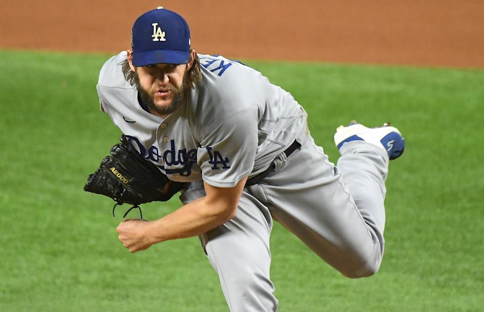 Clayton Kershaw throws a pitch against the Rays during Game 5 of the World Series.