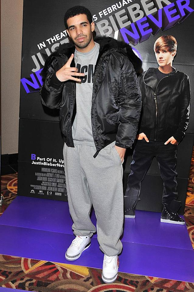 "Speaking of tragic trousers, check out the sweatpants (yes, sweatpants!) Grammy nominee Drake donned to the highly anticipated Toronto premiere of Justin Bieber's ""Never Say Never."" This may be the first -- and hopefully last -- time we ever see sweats on the red carpet. George Pimentel/<a href=""http://www.wireimage.com"" target=""new"">WireImage.com</a> - February 1, 2011"