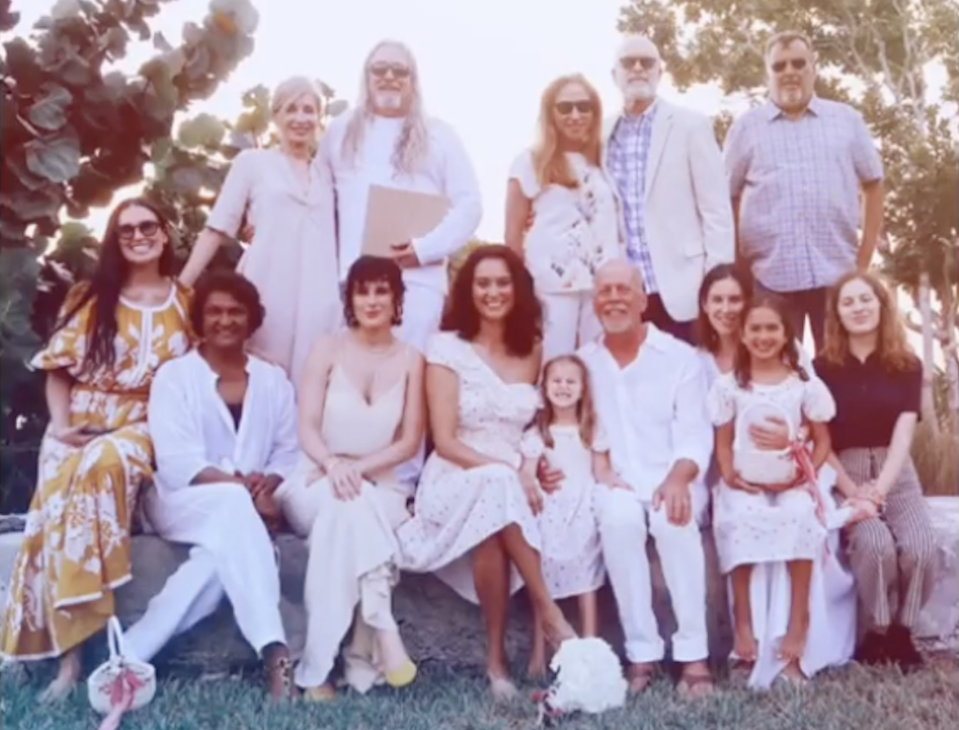 """Bruce Willis and Emma Heming Willis were surrounded by """"family"""" — including his first wife, Demi Moore, left, — for their vow renewal (Screenshot: Emma Heming Willis via Instagram)"""