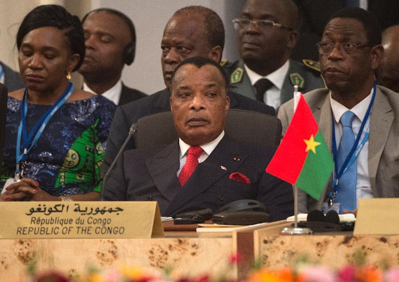 Denis Sassou Nguesso, who has led Congo for over 30 years, stressed the importance of peace, which has been tested by violence in parts of the southern region of Pool since April 2016 (AFP Photo/FADEL SENNA)