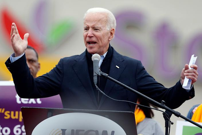 Biden speaks at a rally in support of striking Stop & Shop workers in Boston on April 18, 2019. (Photo: Michael Dwyer/AP)