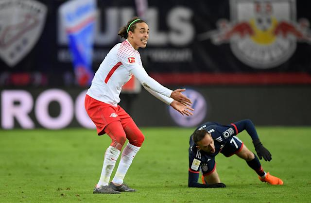 Soccer Football - Bundesliga - RB Leipzig vs Bayern Munich - Red Bull Arena, Leipzig, Germany - March 18, 2018 RB Leipzig's Yussuf Poulsen reacts as Bayern Munich's Franck Ribery looks on REUTERS/Matthias Rietschel DFL RULES TO LIMIT THE ONLINE USAGE DURING MATCH TIME TO 15 PICTURES PER GAME. IMAGE SEQUENCES TO SIMULATE VIDEO IS NOT ALLOWED AT ANY TIME. FOR FURTHER QUERIES PLEASE CONTACT DFL DIRECTLY AT + 49 69 650050
