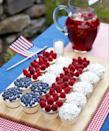 """<p>This cupcake version travels better than a traditional flag cake, and guests get to pick between the three types of red-white-and-blue toppings. </p><p><em><a href=""""https://www.goodhousekeeping.com/food-recipes/a10121/cupcake-flag-berries-coconut-ghk0710/"""" rel=""""nofollow noopener"""" target=""""_blank"""" data-ylk=""""slk:Get the recipe for Cupcake Flag with Berries and Coconut »"""" class=""""link rapid-noclick-resp"""">Get the recipe for Cupcake Flag with Berries and Coconut »</a></em> </p><p><strong>RELATED: </strong><a href=""""https://www.goodhousekeeping.com/food-recipes/dessert/g4315/fourth-of-july-cupcakes/"""" rel=""""nofollow noopener"""" target=""""_blank"""" data-ylk=""""slk:15+ Festive Cupcakes to Celebrate the 4th of July"""" class=""""link rapid-noclick-resp"""">15+ Festive Cupcakes to Celebrate the 4th of July</a></p>"""