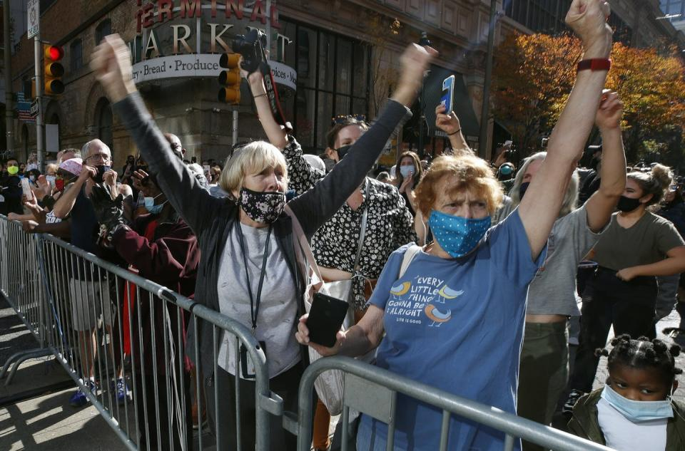 People celebrate the election being called for Biden outside the Pennsylvania Convention Center in Philadelphia on Nov. 7.