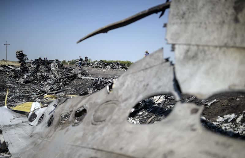 Wreckage from Malaysia Airlines flight MH17 lies at the crash site in the Ukrainian village of Hrabove (Grabovo), on August 2, 2014