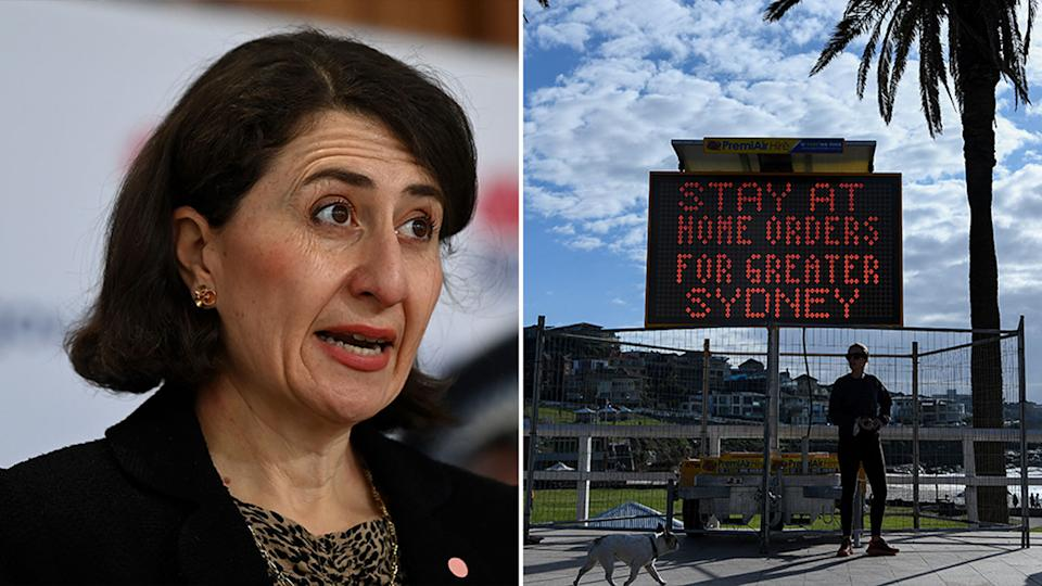 Pictured on the left is Gladys Berejiklian and on the right is a sign saying