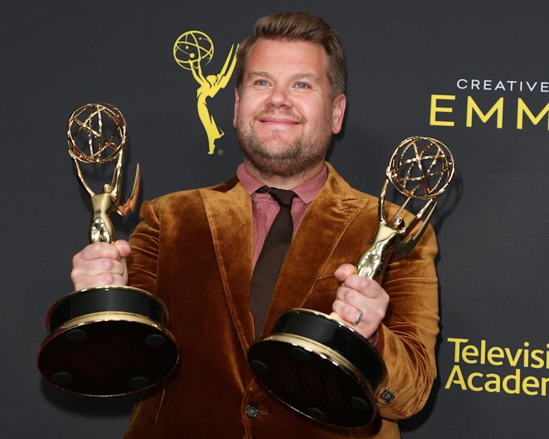 LOS ANGELES, CALIFORNIA - SEPTEMBER 14: James Corden poses for photos in the press room for the 2019 Creative Arts Emmy Awards on September 14, 2019 in Los Angeles, California. (Photo by Paul Archuleta/FilmMagic)