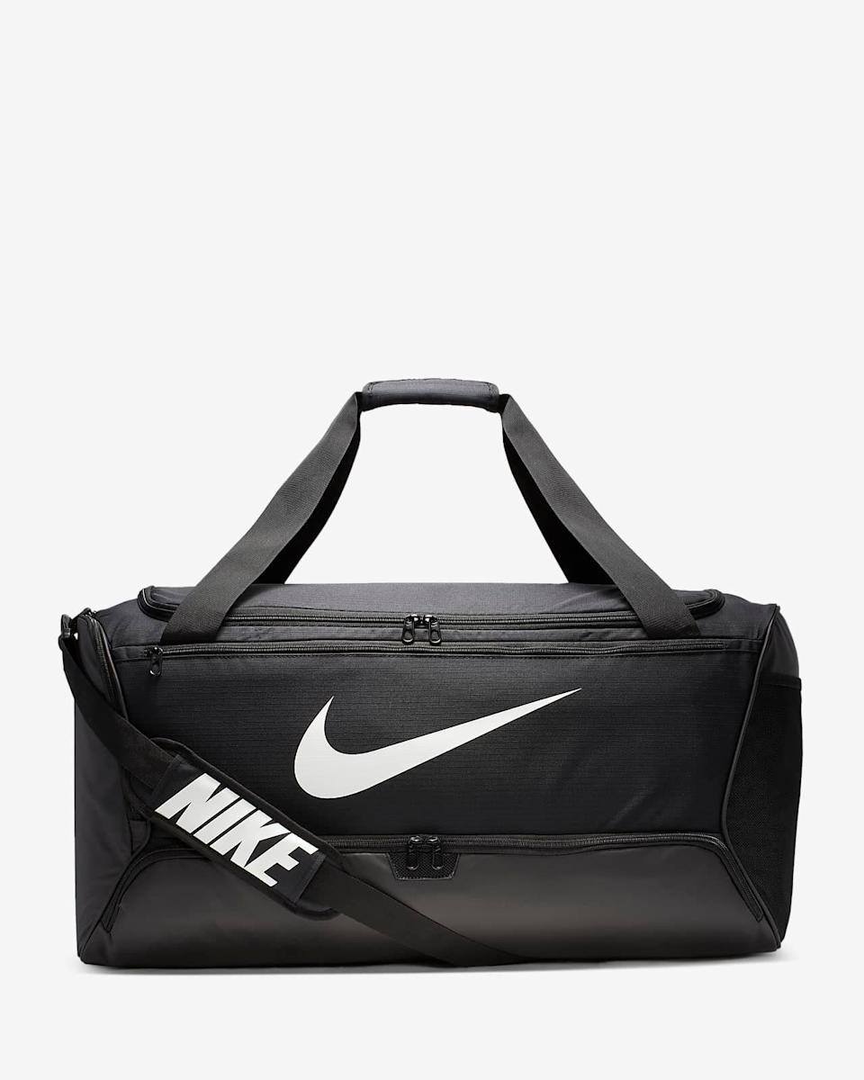 "Just saying, you're going to need a bag to hold all your new gear. $40, Nike. <a href=""https://www.nike.com/t/brasilia-training-duffel-bag-medium-qzNQ2p/BA5955-010"" rel=""nofollow noopener"" target=""_blank"" data-ylk=""slk:Get it now!"" class=""link rapid-noclick-resp"">Get it now!</a>"
