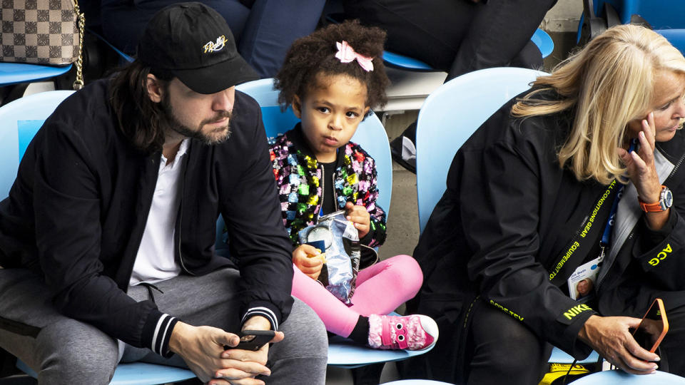 Serena Williams' daughter, pictured here watching her mum in action at Melbourne Park.