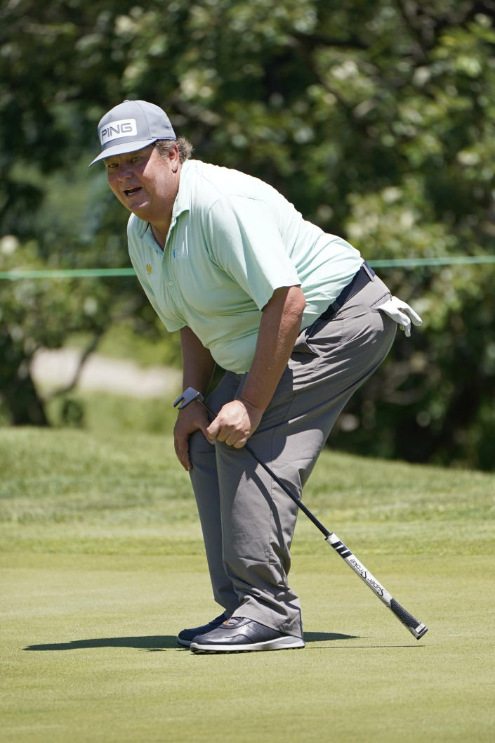 Tim Herron reacts after missing a birdie putt on the ninth green during the second round of the PGA Tour Champions Principal Charity Classic golf tournament, Saturday, June 5, 2021, in Des Moines, Iowa. (AP Photo/Charlie Neibergall)
