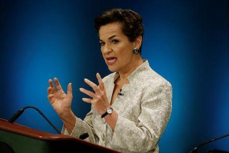 Christiana Figueres speaks during a debate in the United Nations General Assembly in Manhattan, New York, U.S., July 12, 2016. REUTERS/Mike Segar