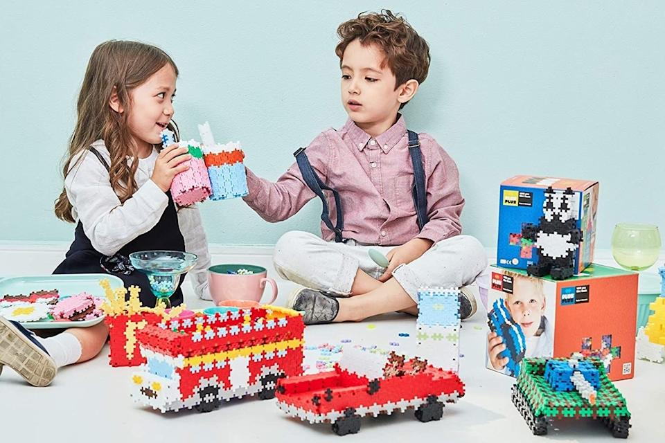 """Build flat or 3D creations that are less likely to injure adults who step on any errant pieces in the middle of the night.<br /><br /><strong>Promising Review:</strong>""""These are now my go-to toy if I need my 5- and 3-year-olds to stop tearing the house apart for just five GD minutes.<strong>My kids are notoriously hard to impress, but these keep them engaged and occupied for as long as I need.</strong>Even my dad is enjoying them! Well worth the money!"""" —<a href=""""https://amzn.to/3elctL2"""" target=""""_blank"""" rel=""""noopener noreferrer"""">Lily Saxon</a><br /><strong><br />Get it from Amazon for <a href=""""https://amzn.to/3sGMW41"""" target=""""_blank"""" rel=""""noopener noreferrer"""">$34.99</a> (available in three colors and four sizes). </strong><a href=""""https://www.amazon.com/PLUS-600-Piece-Basic-Assortment/dp/B0080OJ6K8"""" target=""""_blank"""" rel=""""noopener noreferrer""""><br /></a>"""