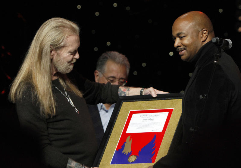Gregg Allman received awards from the Governor of Georgia, the Mayor of Atlanta and BMI during the show at All My Friends: Celebrating The Songs and Voice of Gregg Allman on Friday, Jan. 10, 2014 in Atlanta, Ga. (Photo by Dan Harr/Invision/AP)