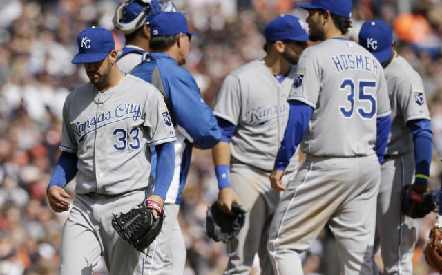 Kansas City Royals starting pitcher James Shields is pulled during the seventh inning of a baseball game against the Detroit Tigers in Detroit, Monday, March 31, 2014. (AP Photo/Carlos Osorio)