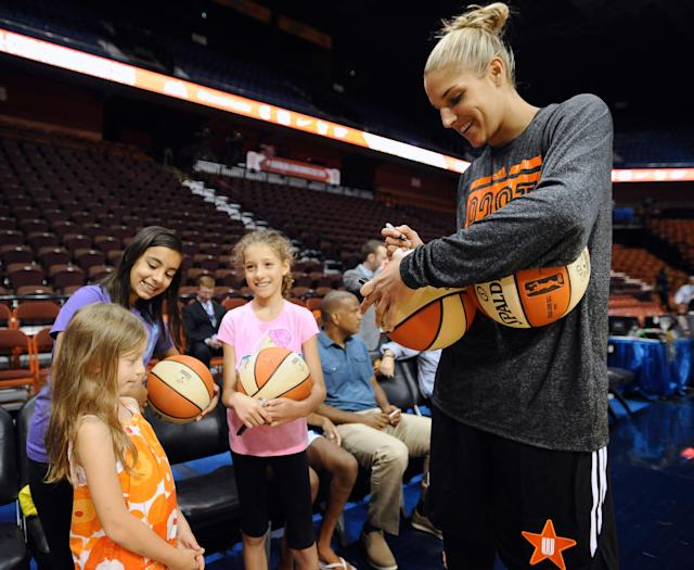 "<a class=""link rapid-noclick-resp"" href=""/wnba/players/5058/"" data-ylk=""slk:Elena Delle Donne"">Elena Delle Donne</a> talked about where the WNBA stands in the basketball world and is tired of how female basketball players are portrayed. (AP Photo/Jessica Hill)"