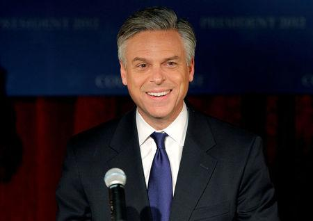 FILE PHOTO: Republican presidential candidate former Utah Governor Jon Huntsman addresses supporters at his New Hampshire primary night rally in Manchester, New Hampshire, U.S., January 10, 2012.  REUTERS/Adam Hunger/File Photo