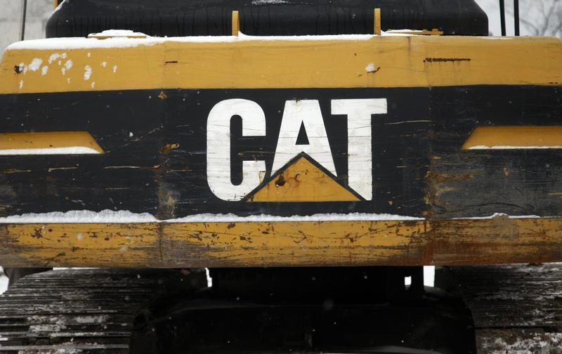 The CAT logo is seen on back of a Caterpillar excavator machine at a work site in Detroit