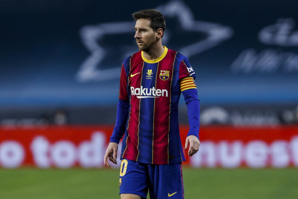 Barcelona's Lionel Messi during the Spanish Supercopa final soccer match between FC Barcelona and Athletic Bilbao at La Cartuja stadium in Seville, Spain, Sunday, Jan. 17, 2021. (AP Photo/Miguel Morenatti)