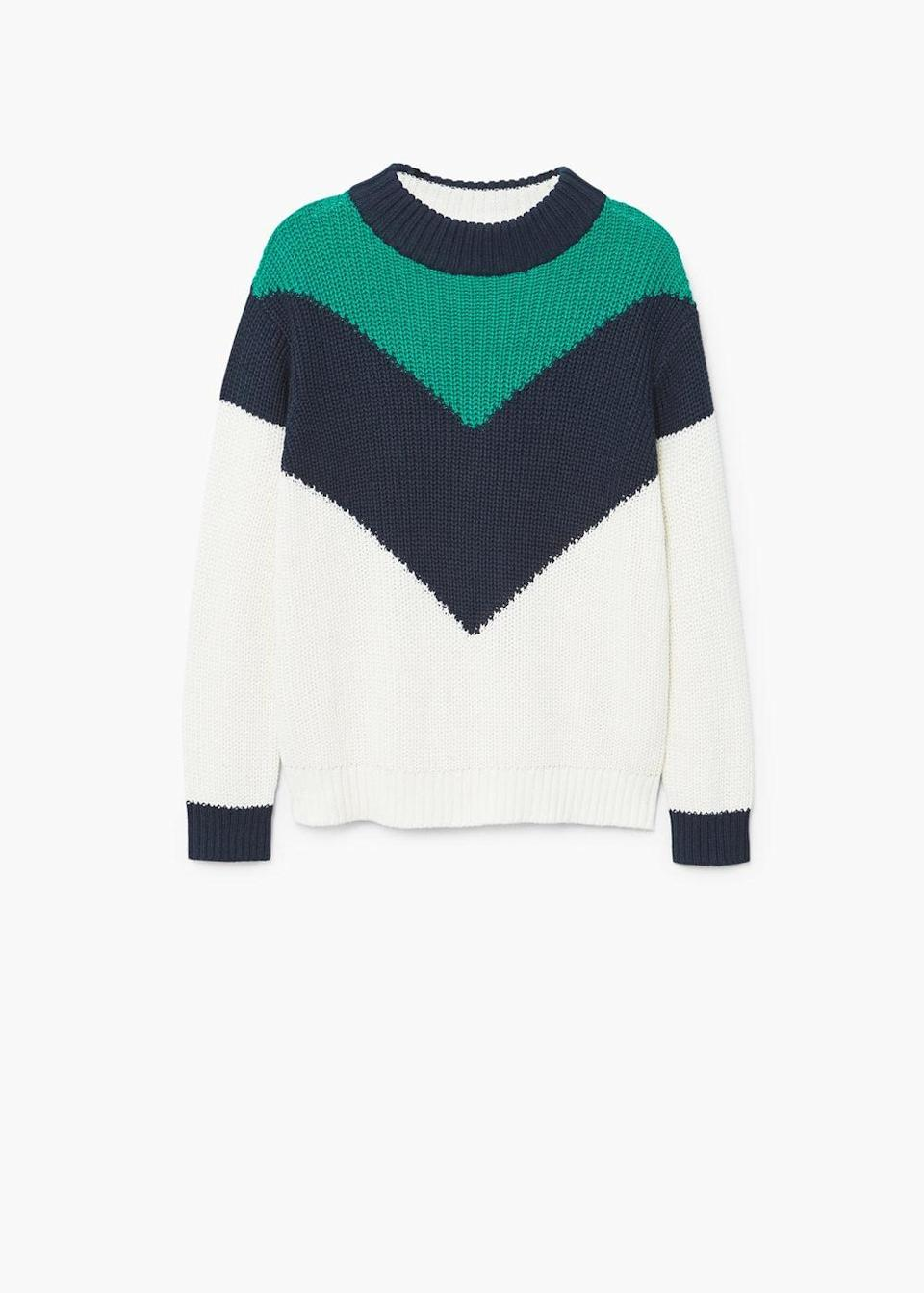 """<p>The go-to look for street style experts? A statement knit, boyfriend jeans and kitten heels. Yes, for an effortless look this season shop Mango's latest drop.<br><br><em><a rel=""""nofollow noopener"""" href=""""https://shop.mango.com/gb/women/cardigans-and-sweaters-sweaters/contrasting-knit-sweater_13005699.html?c=05&n=1&s=prendas.familia;55,355"""" target=""""_blank"""" data-ylk=""""slk:Mango"""" class=""""link rapid-noclick-resp"""">Mango</a>, £29.99</em> </p>"""