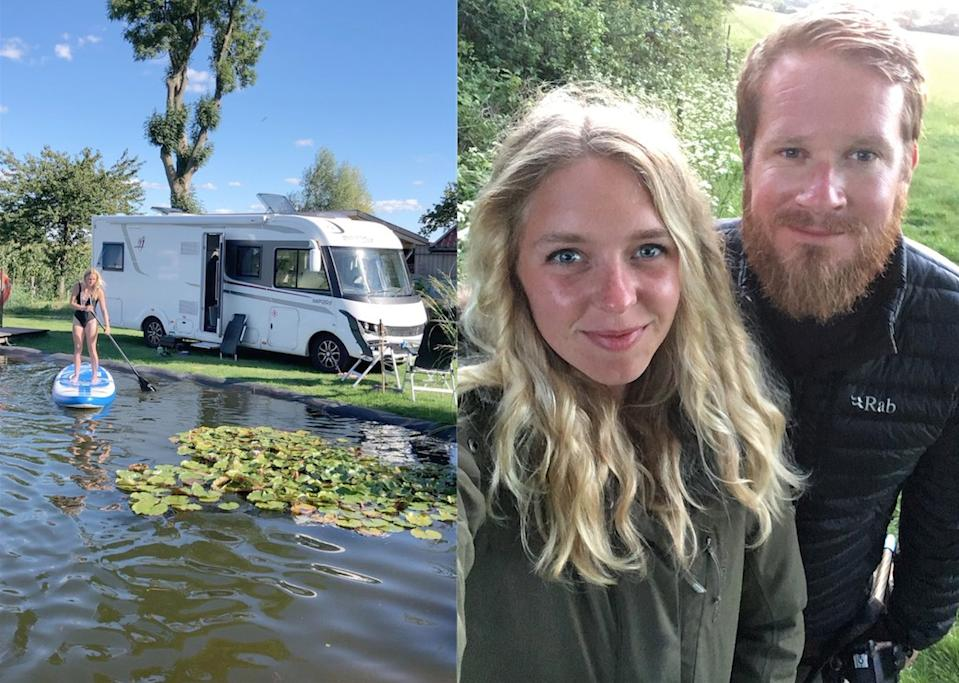 Pete Thomas and Brydee Hoad sold their two-bedroom house to live in a motorhome. (@champers_and_campers / Caters)