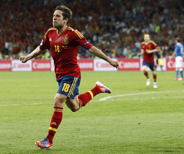 Spain's Jordi Alba celebrates after scoring his side's second goal during the Euro 2012 soccer championship final between Spain and Italy in Kiev, Ukraine, Sunday, July 1, 2012. (AP Photo/Jon Super)