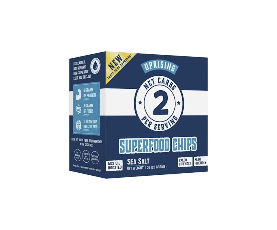 """<p><strong>$2.93</strong></p><p><a href=""""https://go.redirectingat.com?id=74968X1596630&url=https%3A%2F%2Fwww.uprisingfood.com%2Fcollections%2Fsubscriptions-bundles%2Fproducts%2Fthe-superfood-chips-jumbo-bundle&sref=https%3A%2F%2Fwww.prevention.com%2Ffood-nutrition%2Fg36256545%2Fbest-keto-snacks%2F"""" rel=""""nofollow noopener"""" target=""""_blank"""" data-ylk=""""slk:Shop Now"""" class=""""link rapid-noclick-resp"""">Shop Now</a></p><p>Looking for a crunchy, low-carb cracker that doesn't taste like cardboard? Ernst is a fan of these superfood chips from Uprising, which have a <strong>satisfying, crunchy texture</strong> and the perfect amount of salt. They're made from simple, clean ingredients and have 2g of net carbs per serving (about 16 chips). </p>"""