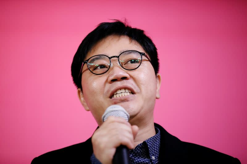 North Korean defector Ji Seong-ho speaks during an opening ceremony for an election campaign of the main opposition United Future Party in Seoul