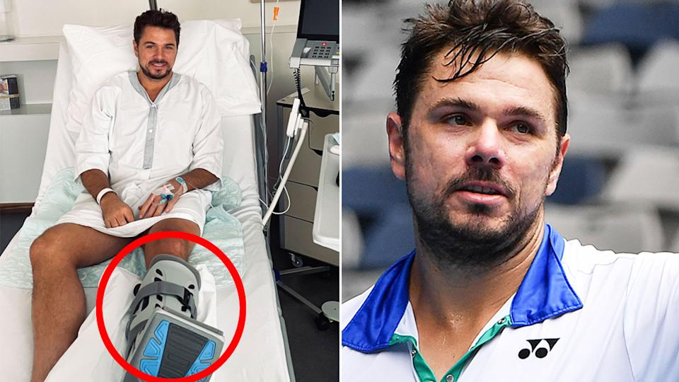 Pictured here, Stan Wawrinka in hospital after having a procedure done to fix a foot injury.