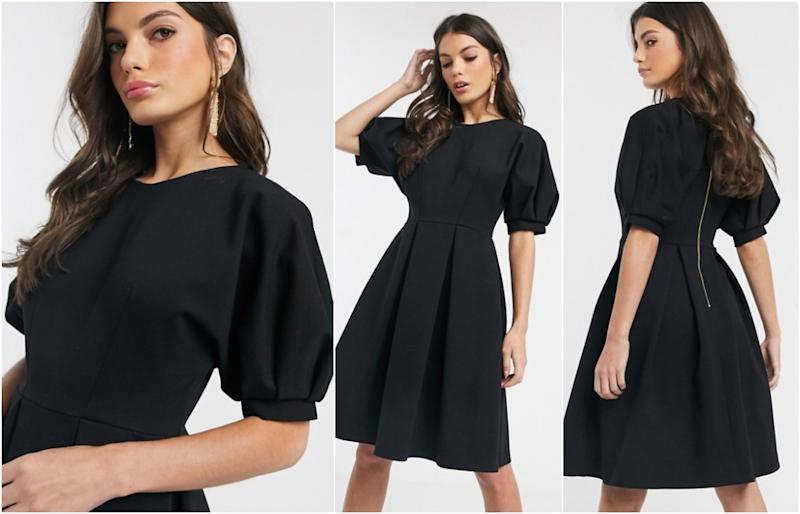Closet London balloon sleeve skater dress in black