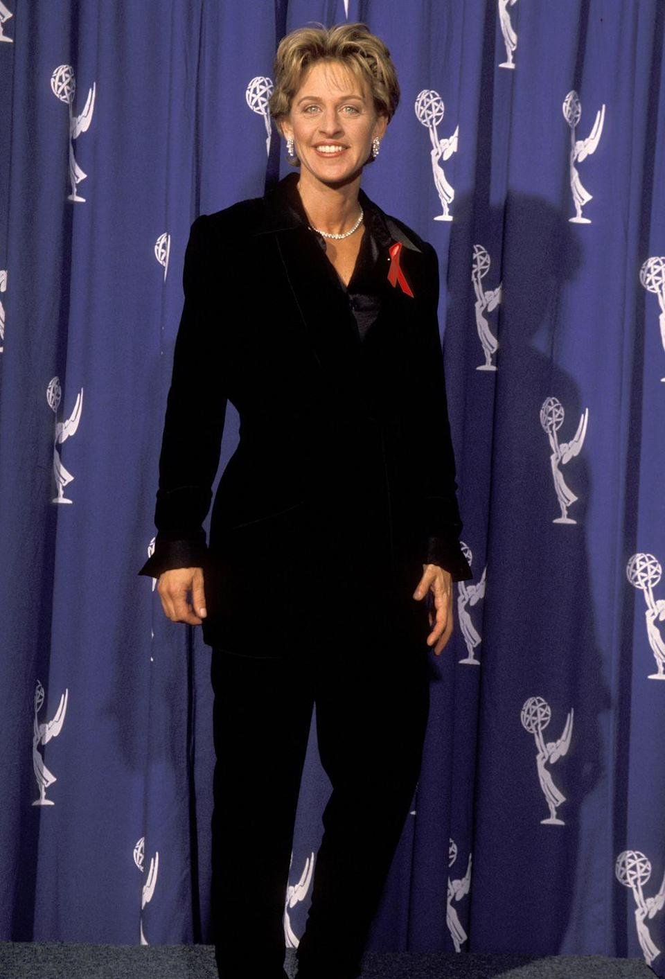 <p>DeGeneres wore a simple pantsuit to the Emmy Awards in 1994. </p>
