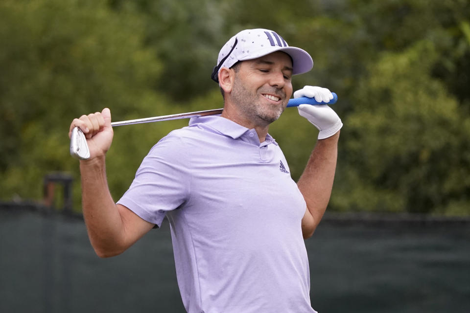 Sergio Garcia of Spain reacts after his drive from the tenth tee during the second round of the Sanderson Farms Championship golf tournament in Jackson, Miss., Friday, Oct. 1, 2021. (AP Photo/Rogelio V. Solis)