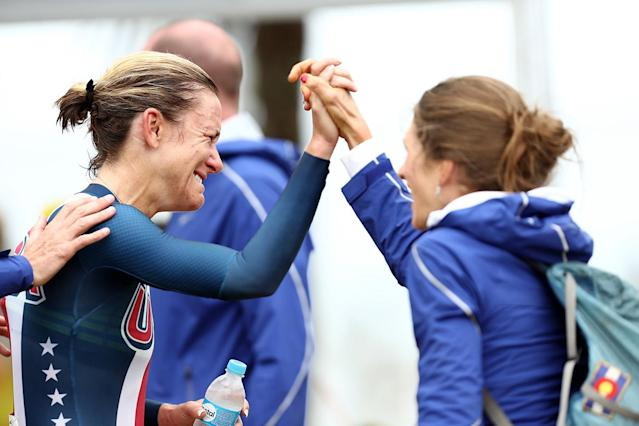 <p>Kristin Armstrong is congratulated by Mara Abbott of the United States after winning the gold medal in the Women's Individual Time Trial on Day 5 of the Rio 2016 Olympic Games at Pontal on August 10, 2016 in Rio de Janeiro, Brazil. (Photo by Bryn Lennon/Getty Images) </p>