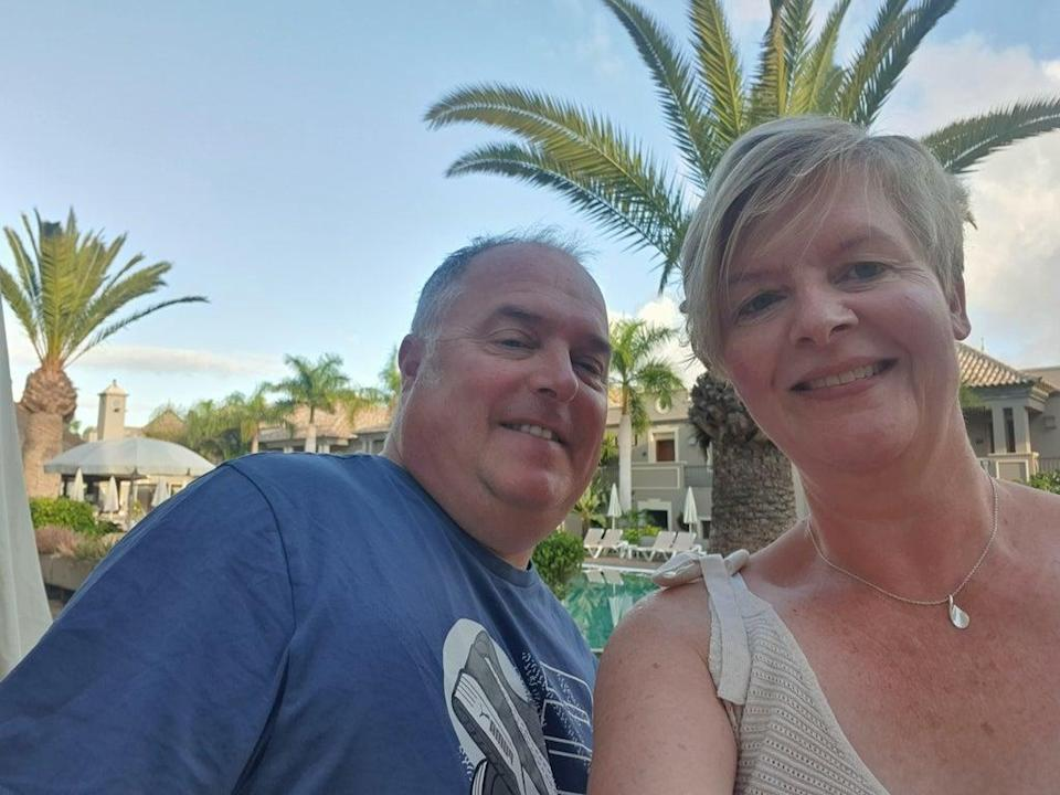 Sun days: Chris and Vanessa Pritchard-Wilkes finally arrived in Tenerife after a four-day delay (Vanessa Pritchard-Wilkes)